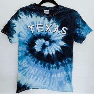 Texas Tie Dye Wave Blue and White T-Shirt